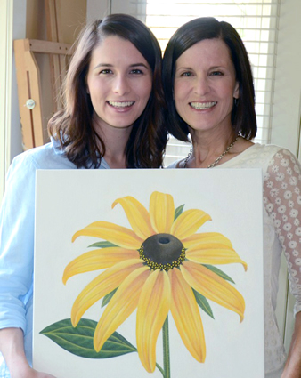 Laurie Koss with daughter Sarah Koss with original Black-eyed Susan painting  before it was sent to the Canadian Mint  to be turned into a $20 coin.  Fall, 2014