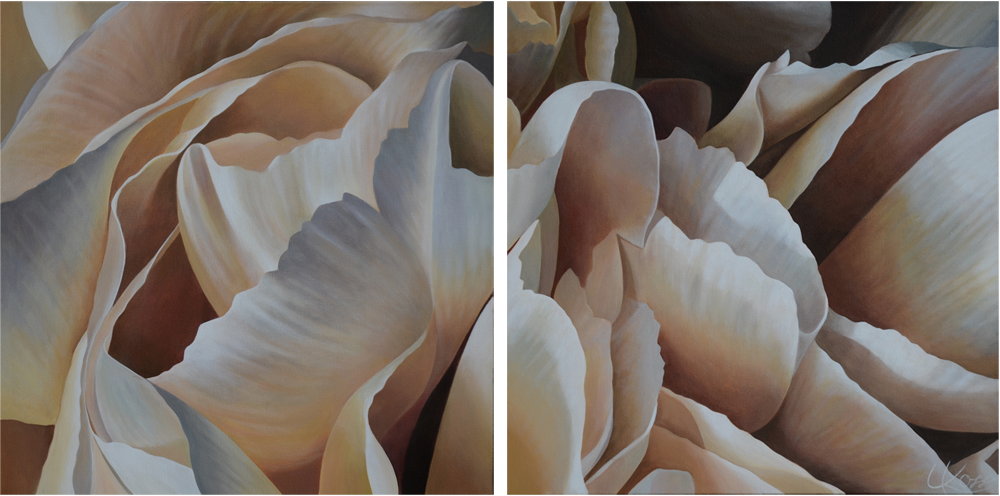 Carnation 22-Diptych, 24x48 (Sold)