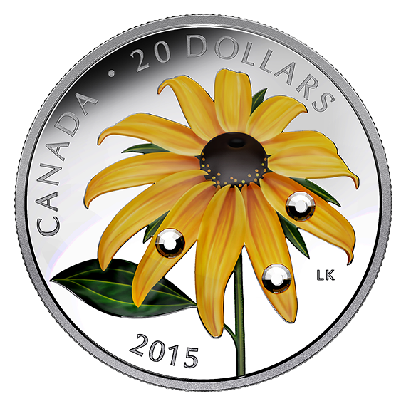 Canadian Artist, Laurie Koss, designed a $20 Collector's Coin in 2015 for the Royal Canadian Mint. It showcases a black eyed susan flower with Swarovski crystals embedded in three of the petals.