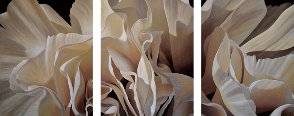 Carnation 16 | 20x48 triptych acrylic on canvas by Canadian Artist, Laurie Koss who is known for her big flower (macro floral) paintings in neutral tones.