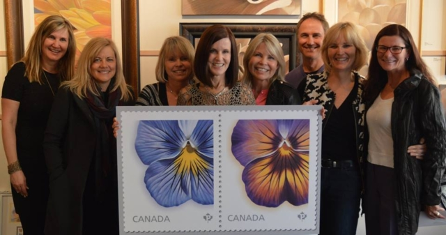 Laurie Koss with her good friends at the Launch of 2015 Canadian Post Floral Stamps by Laurie Koss