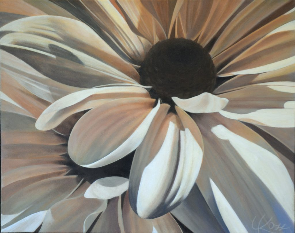 Mum 12 | 16x20 acrylic on canvas by Canadian Artist, Laurie Koss who is known for her big flower (macro floral) paintings in neutral tones.