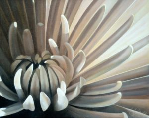 Mum 13 | 16x20 acrylic on canvas by Canadian Artist, Laurie Koss who is known for her big flower (macro floral) paintings in neutral tones.