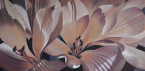 Alstroemeria 1 | 15x30 acrylic on canvas by Canadian Artist, Laurie Koss who is known for her big flower (macro floral) paintings in neutral tones.