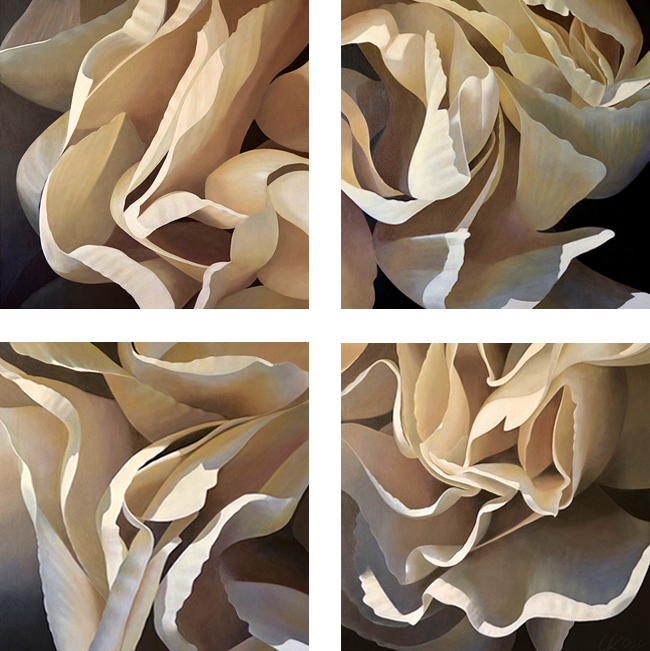 Carnation 12 | Quadtych acrylic on canvas by Canadian Artist, Laurie Koss who is known for her big flower (macro floral) paintings in neutral tones.