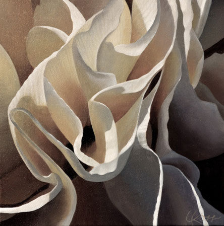 Carnation 14 | 12x12 acrylic on canvas by Canadian Artist, Laurie Koss who is known for her big flower (macro floral) paintings in neutral tones.