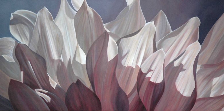 Dahlia 2 | 24x48 acrylic on canvas by Canadian Artist, Laurie Koss who is known for her big flower (macro floral) paintings in neutral tones.