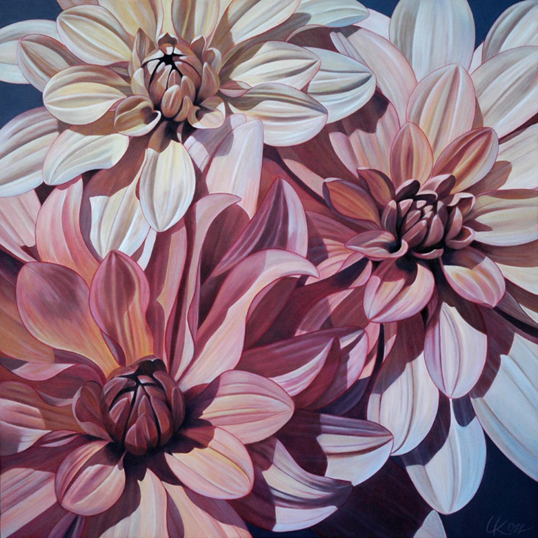 Dahlia 3 | 36x36 acrylic on canvas by Canadian Artist, Laurie Koss who is known for her big flower (macro floral) paintings in neutral tones.