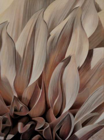 Dahlia 4 | 18x24 acrylic on canvas by Canadian Artist, Laurie Koss who is known for her big flower (macro floral) paintings in neutral tones.