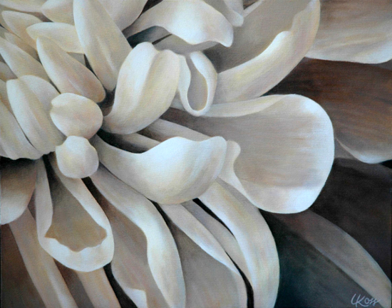 Mum 6 | 16x20 acrylic on canvas by Canadian Artist, Laurie Koss who is known for her big flower (macro floral) paintings in neutral tones.