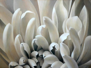 Mum 7   30x40 acrylic on canvas by Canadian Artist, Laurie Koss who is known for her big flower (macro floral) paintings in neutral tones.