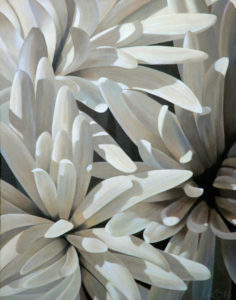 Mum 9   28x22 acrylic on canvas by Canadian Artist, Laurie Koss who is known for her big flower (macro floral) paintings in neutral tones.