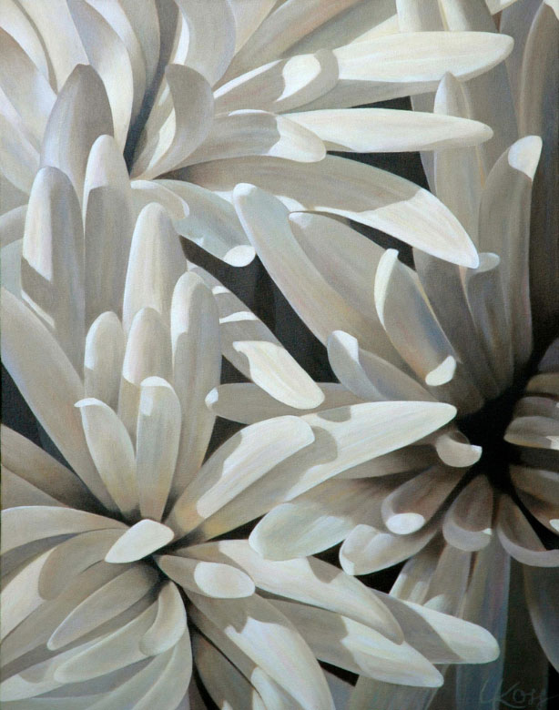 Mum 9 | 28x22 acrylic on canvas by Canadian Artist, Laurie Koss who is known for her big flower (macro floral) paintings in neutral tones.
