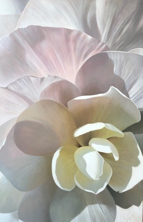 Begonia 31 | 36x24 acrylic on canvas by Canadian Artist, Laurie Koss who is known for her big flower (macro floral) paintings.