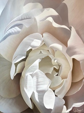 Begonia 32 | 40x30 acrylic on canvas by Canadian Artist, Laurie Koss who is known for her big flower (macro floral) paintings.
