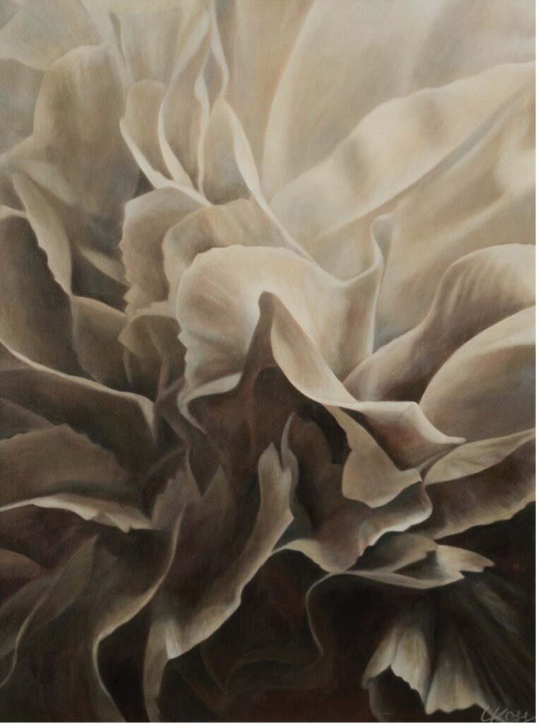 Carnation 1 | 30x40 acrylic on canvas by Canadian Artist, Laurie Koss who is known for her big flower (macro floral) paintings.
