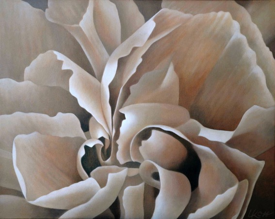 Carnation 6 | 24x30 acrylic on canvas by Canadian Artist, Laurie Koss who is known for her big flower (macro floral) paintings.