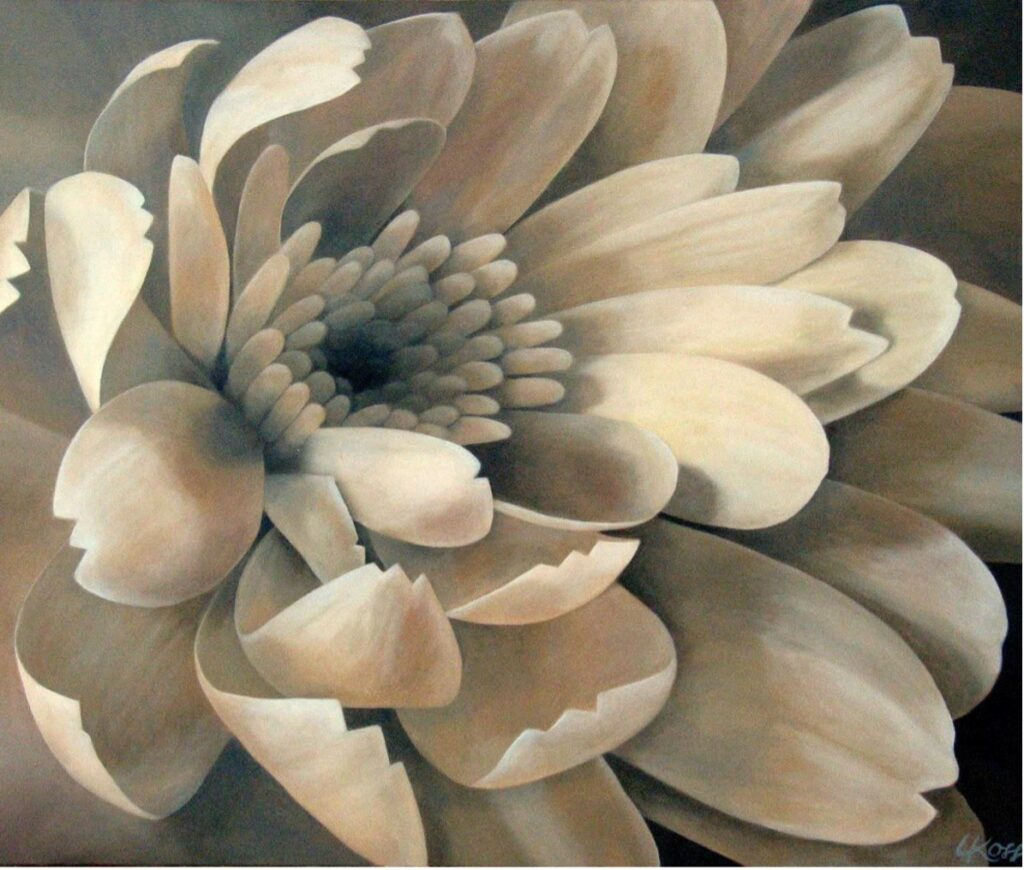 Mum 1 | 30x36 acrylic on canvas by Canadian Artist, Laurie Koss who is known for her big flower (macro floral) paintings.