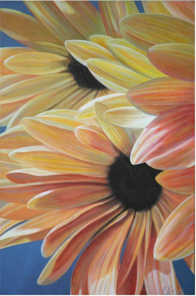 Mum 10 | 30x20 acrylic on canvas by Canadian Artist, Laurie Koss who is known for her big flower (macro floral) paintings.