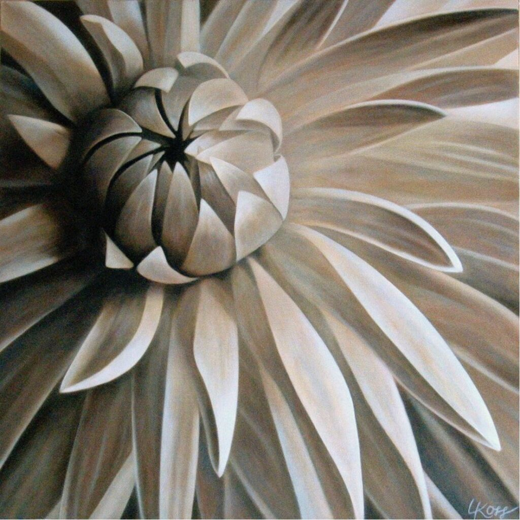 Mum 2 | 24x24 acrylic on canvas by Canadian Artist, Laurie Koss who is known for her big flower (macro floral) paintings.