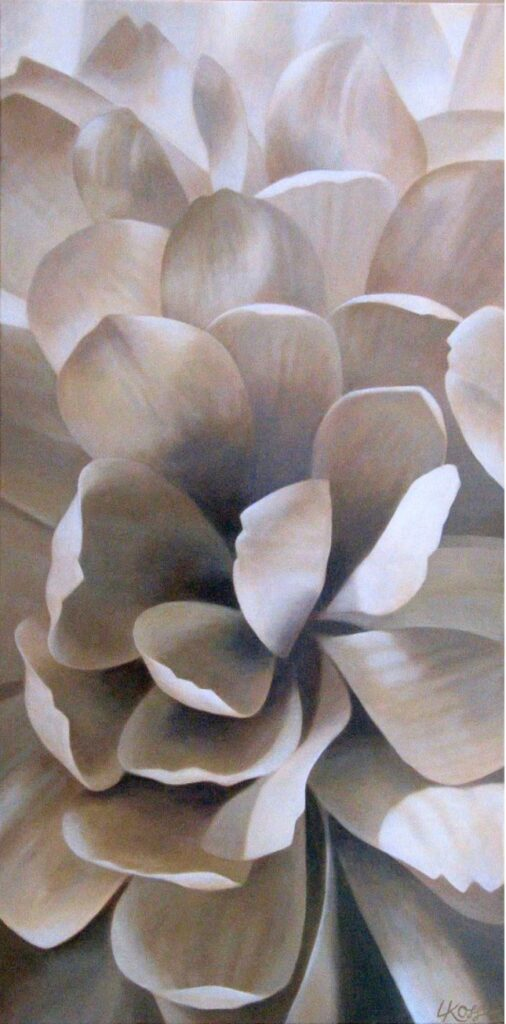 Mum 3 | 18x36 acrylic on canvas by Canadian Artist, Laurie Koss who is known for her big flower (macro floral) paintings.