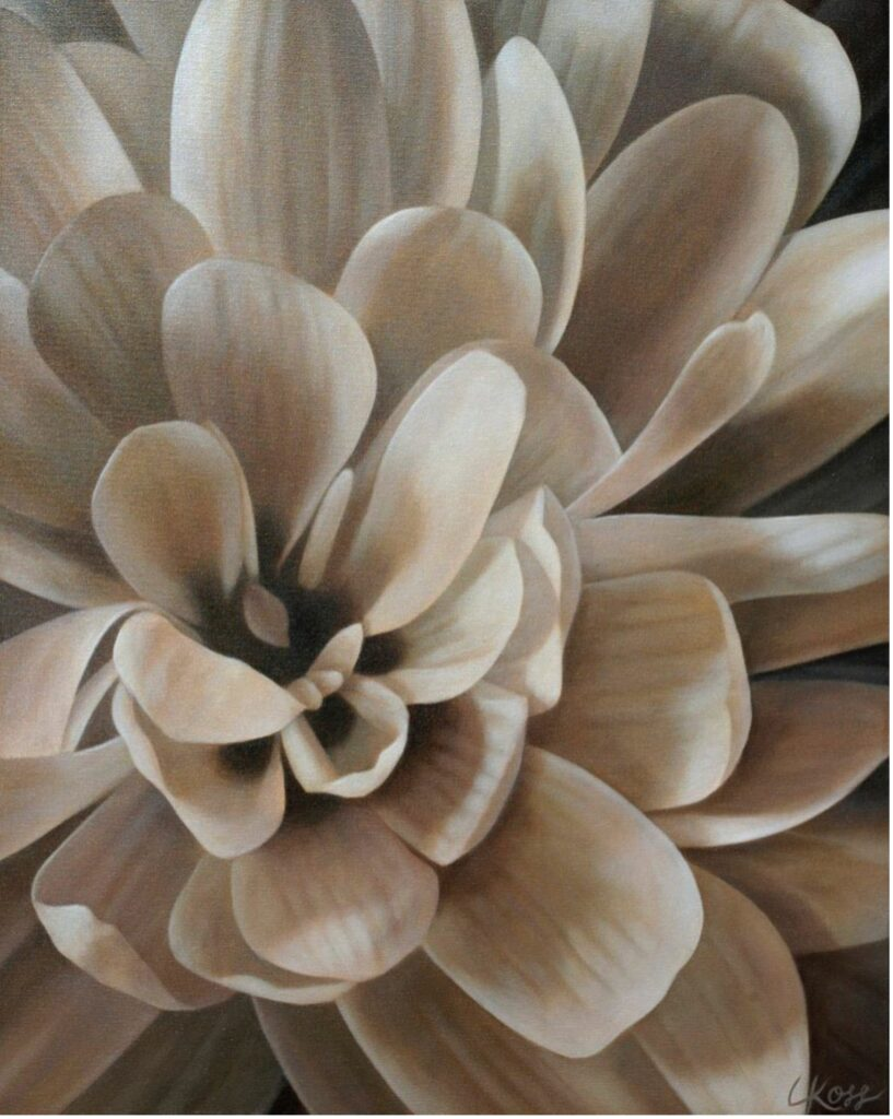 Mum 4 | 24x30 acrylic on canvas by Canadian Artist, Laurie Koss who is known for her big flower (macro floral) paintings.