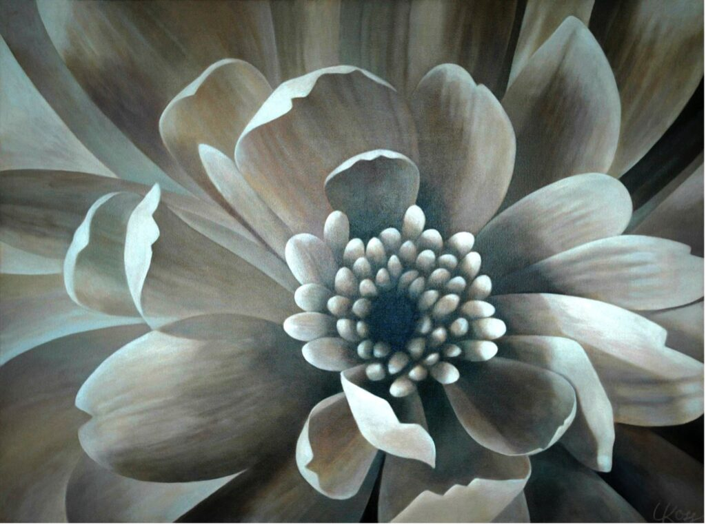 Mum 5 | 30x40 acrylic on canvas by Canadian Artist, Laurie Koss who is known for her big flower (macro floral) paintings.