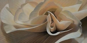 Begonia 11 | 15x30 acrylic on canvas by Canadian Artist, Laurie Koss who is known for her big flower (macro floral) paintings in neutral tones.