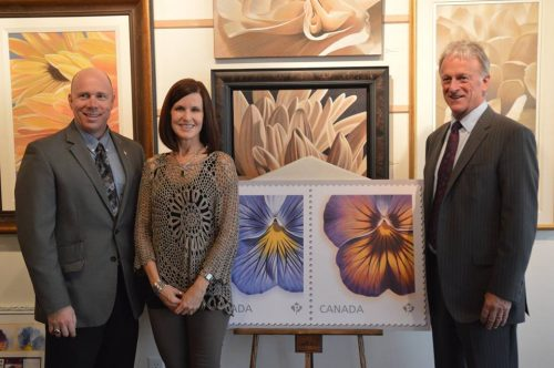 Left to Right: Local MP Ron *, Laurie Koss, and and Hambleton Galleries Owner Stewart Turcotte