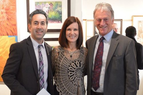 March 2 2015 Laurie Koss with Kelowna Mayor Colin Basran and Stewart Turcotte of Hambleton Gallery